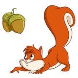 Cartoon squirrel sneak up to nuts Stock Photos