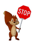 Cartoon squirrel with STOP Sign. 3d illustration isolated on the white background Stock Photos