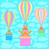 Cartoon squirrels in balloons Royalty Free Stock Image