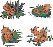 Cartoon squirrels Stock Photo