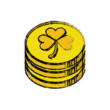 Cartoon st patrick day pile coins golden sign Stock Photography