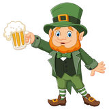 Cartoon St Patrick's Day, Leprechaun with mug beer Royalty Free Stock Images