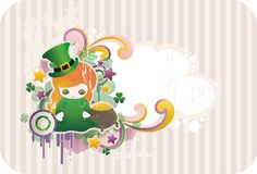 Cartoon st. Patrick's leprechaun. With frame for text Stock Photography