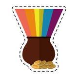 Cartoon st patricks day cauldron rainbow with coins Royalty Free Stock Photography