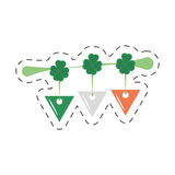 Cartoon st patricks day clover pennant decorative Royalty Free Stock Image