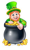 Cartoon St Patricks Day Leprechaun and Pot of Gold Royalty Free Stock Photography
