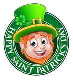 Cartoon St Patricks Day Leprechaun Sign Stock Photography