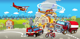 Cartoon stage with different machines for firefighting colorful and cheerful scene Royalty Free Stock Images