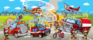 Cartoon stage with different machines for firefighting colorful and cheerful scene Stock Photo