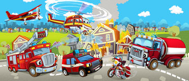 Cartoon stage with different machines for firefighting colorful and cheerful scene Stock Image