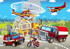 Cartoon stage with different machines for firefighting colorful and cheerful scene Stock Photos