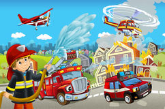 Cartoon stage with different machines for firefighting colorful and cheerful scene Royalty Free Stock Photo