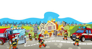 Cartoon stage with different machines for firefighting - colorful and cheerful scene Royalty Free Stock Photo