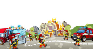 Cartoon stage with different machines for firefighting - colorful and cheerful scene Stock Photos