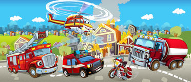 Cartoon stage with different machines for firefighting - tracks motorbike and helicopter - colorful and cheerful scene Stock Photos