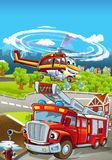 Cartoon stage with different machines for firefighting - truck and helicopter - colorful and cheerful scene. Beautiful and colorful illustration for children Royalty Free Stock Photo
