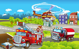 Cartoon stage with different machines for firefighting - trucks and helicopter - colorful and cheerful scene. Beautiful and colorful illustration for the Stock Photography