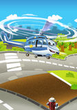 Cartoon stage with different police vehicles - helicopter - colorful and cheerful scene. Beautiful and colorful illustration for the children - for different royalty free illustration