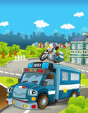 Cartoon stage with different police vehicles - truck and motorbike - colorful and cheerful scene. Beautiful and colorful illustration for the children - for vector illustration
