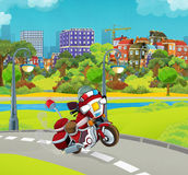 Cartoon stage with emergency vehicle - fire fighter motorbike - colorful and cheerful scene. Beautiful and colorful illustration for the children - for different Stock Image