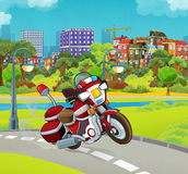Cartoon stage with emergency vehicle - fire fighter motorbike - colorful and cheerful scene. Beautiful and colorful illustration for the children - for different Stock Photos