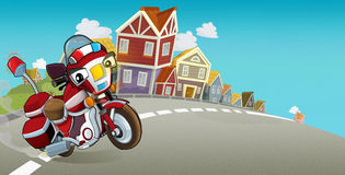 Cartoon stage with emergency vehicle - fire fighter motorbike - colorful and cheerful scene. Happy and funny traditional scene for different usage - for Stock Image