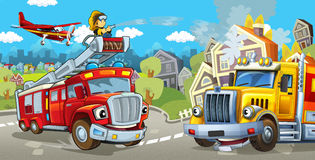 Cartoon stage with fire fighter and his vehicle in front of happy cargo truck colorful and cheerful scene Royalty Free Stock Images