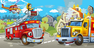 Cartoon stage with fire fighter and his vehicle in front of happy cargo truck colorful and cheerful scene Stock Photos