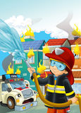 Cartoon stage with fireman near burning building scared ambulacne is watching colorful scene Stock Image