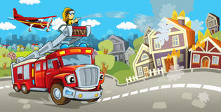 Cartoon stage with truck for firefighting colorful and cheerful scene and flying machine. Beautiful and colorful illustration for the children - for different Royalty Free Stock Images
