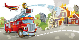 Cartoon stage with truck for firefighting colorful and cheerful scene and flying machine. Beautiful and colorful illustration for the children - for different Stock Image