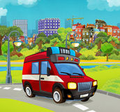 Cartoon stage with vehicle for firefighting truck van looking and smiling. Beautiful and colorful illustration for the children - for different usage - for fairy Royalty Free Stock Images