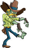 Cartoon stalking zombie. With a big hat and moustache.Isolated on white Stock Photos