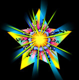 Cartoon star. An illustration of a vivid and very bright cartoon star exploding in bursts of color Stock Image