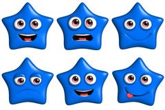 Cartoon star. 3d cartoon cute blue star Royalty Free Stock Image
