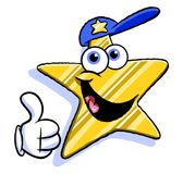Cartoon star with baseball cap Stock Photography