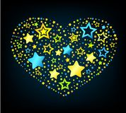 Cartoon star colored heart Stock Image
