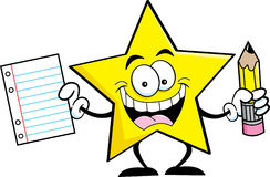 Cartoon star holding a pencil and paper Royalty Free Stock Image