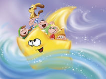 Cartoon star and kids. Cartoon star that is like a boat in the water with a group of children. Digital illustration Royalty Free Stock Photos