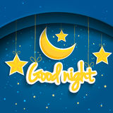 Cartoon star and moon wishing good night. Vector background EPS1 Stock Images