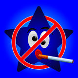 Cartoon star of no smoking sign Royalty Free Stock Photo