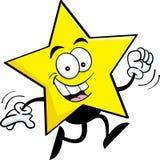 Cartoon star running. Cartoon illustration of a star running vector illustration