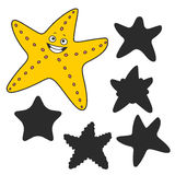 Cartoon Starfish. Find the right shadow image. Educational games for kids.Cartoon Starfish Stock Images