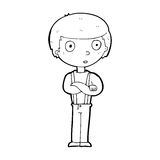 Cartoon staring boy with folded arms Royalty Free Stock Images