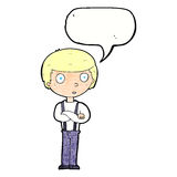 Cartoon staring boy with folded arms with speech bubble Stock Images
