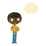Cartoon staring boy with folded arms with thought bubble Royalty Free Stock Photo