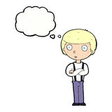Cartoon staring boy with folded arms with thought bubble Royalty Free Stock Images