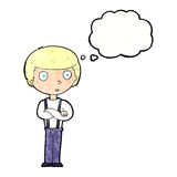 Cartoon staring boy with folded arms with thought bubble Stock Images