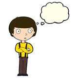 Cartoon staring boy with folded arms with thought bubble Royalty Free Stock Photos