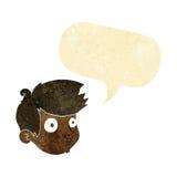 Cartoon staring boy with speech bubble Stock Photo